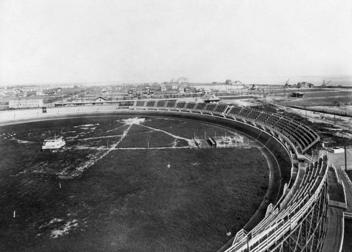 1912 Greeting Card featuring the photograph New York Motordrome, C1912 by Granger