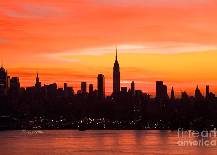 New York Skyline Dawn Greeting Card featuring the photograph New York November Dawn by Regina Geoghan