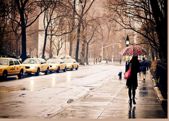 New York City Greeting Card featuring the photograph New York Rain - Greenwich Village by Vivienne Gucwa