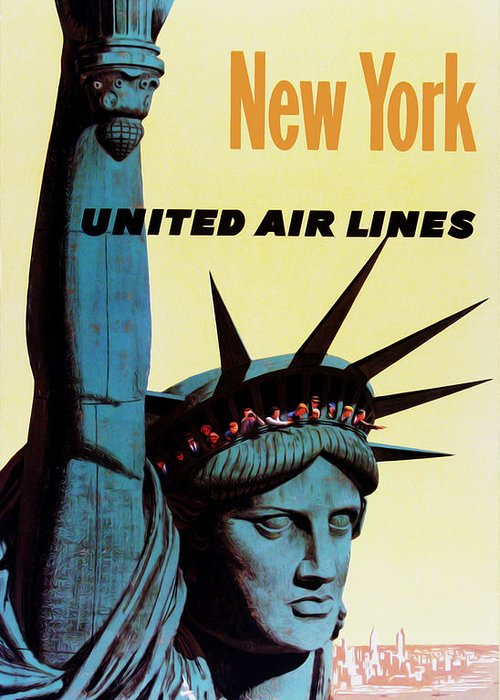 New York Greeting Card featuring the photograph New York United Airlines by Mark Rogan