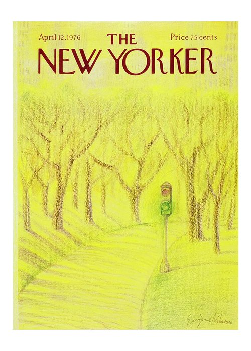 Illustration Greeting Card featuring the painting New Yorker April 12th 1976 by Eugene Mihaesco