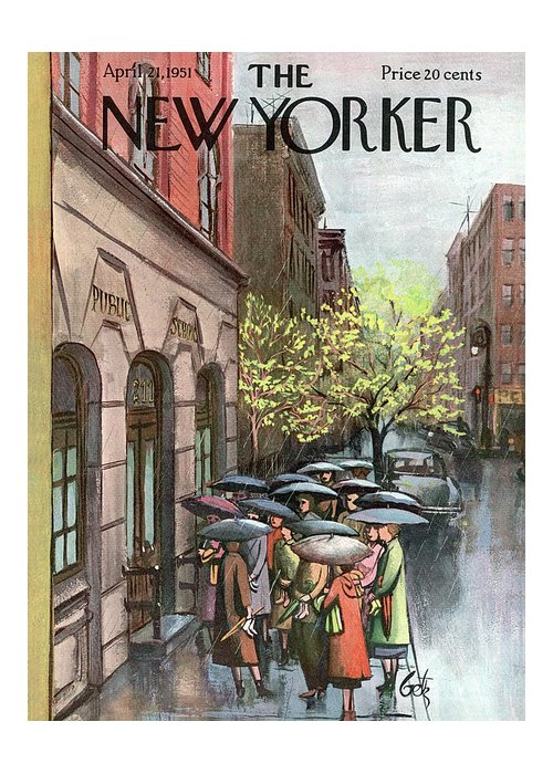 Urban Greeting Card featuring the painting New Yorker April 21st, 1951 by Arthur Getz