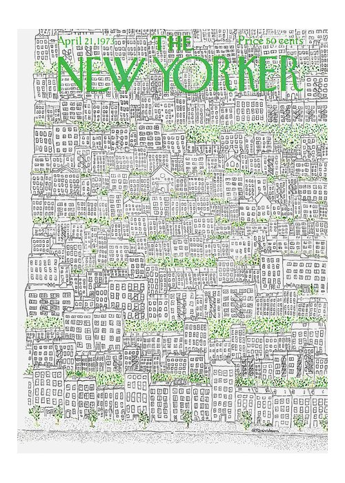 Patrick Greeting Card featuring the painting New Yorker April 21st, 1973 by Raymond Davidson