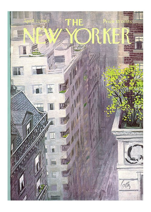 Arthur Getz Agt Greeting Card featuring the painting New Yorker April 22nd, 1967 by Arthur Getz