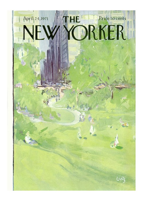 Urban Greeting Card featuring the painting New Yorker April 24th, 1971 by Arthur Getz