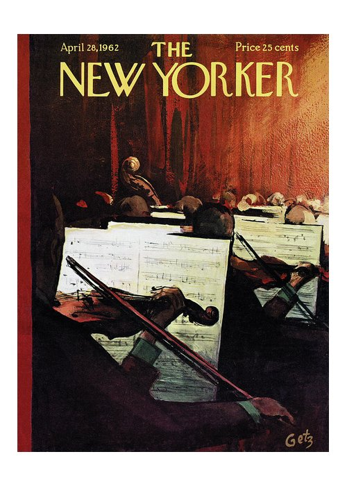 Concert Greeting Card featuring the painting New Yorker April 28th, 1962 by Arthur Getz
