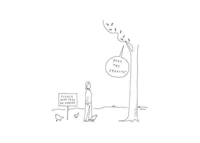 Parrots Greeting Card featuring the drawing New Yorker April 3rd, 2017 by Liana Finck