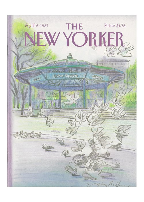 New York City Greeting Card featuring the painting New Yorker April 6th, 1987 by Eugene Mihaesco