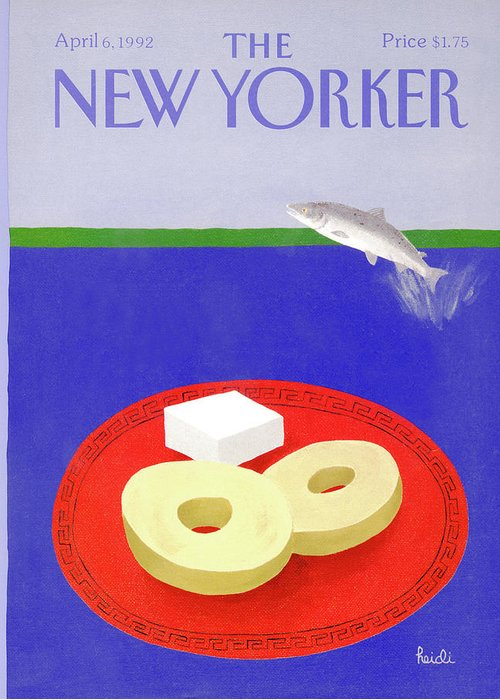 A Salmon Fish Jumps Out Of A Body Of Water Greeting Card featuring the painting New Yorker April 6th, 1992 by Heidi Goennel