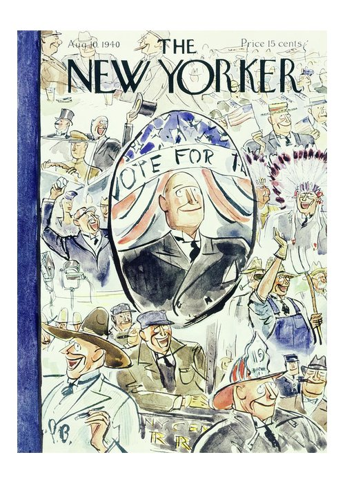 Political Greeting Card featuring the painting New Yorker August 10 1940 by Perry Barlow