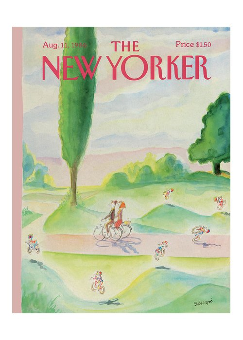 Summer Greeting Card featuring the painting New Yorker August 11th, 1986 by Jean-Jacques Sempe