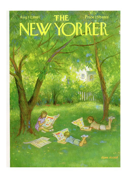 Edna Eicke Eed Greeting Card featuring the painting New Yorker August 12th, 1961 by Edna Eicke