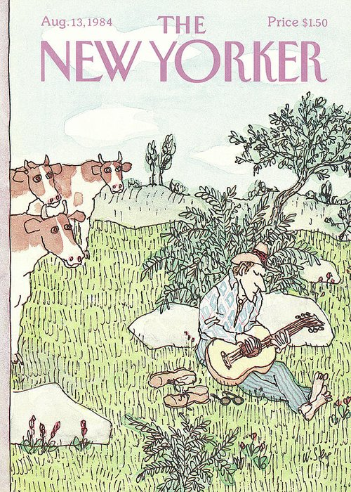 Leisure Greeting Card featuring the painting New Yorker August 13th, 1984 by William Steig