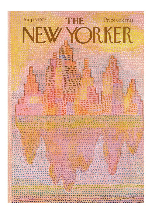 Heat Greeting Card featuring the painting New Yorker August 18th, 1975 by Eugene Mihaesco