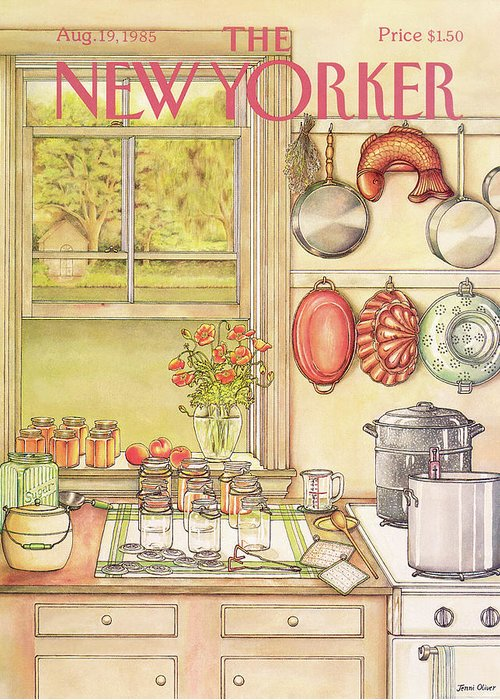 Household Greeting Card featuring the painting New Yorker August 19th, 1985 by Jenni Oliver