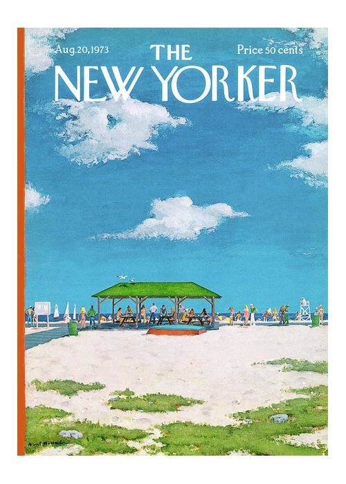 Summer Greeting Card featuring the painting New Yorker August 20th, 1973 by Albert Hubbell