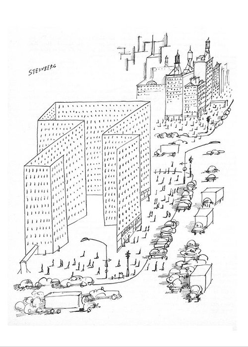 City Scene Drawings Greeting Cards
