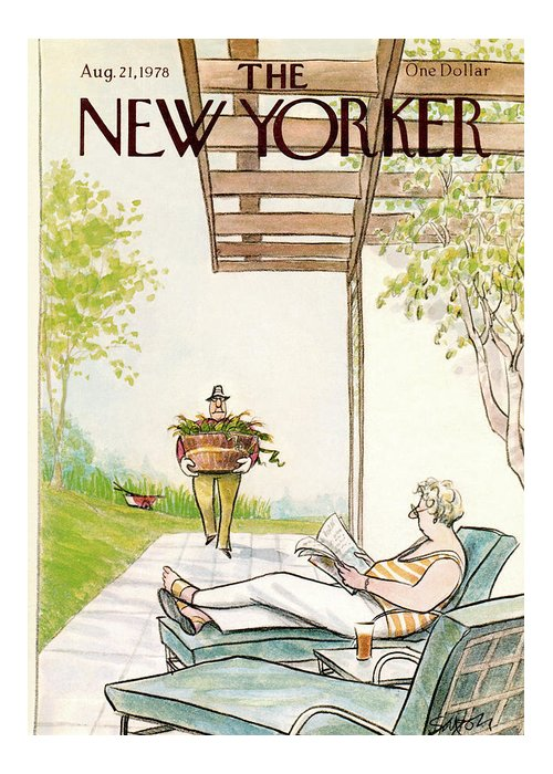 Charles Saxon Csa Greeting Card featuring the painting New Yorker August 21st, 1978 by Charles Saxon