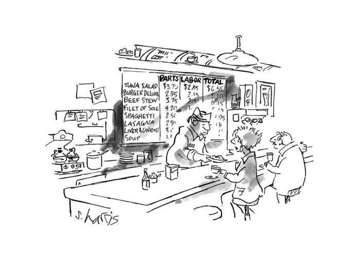 No Caption Items On Wall Menu Behind Diner Counter Are Divided Into Three Categories: Parts Greeting Card featuring the drawing New Yorker August 21st, 1995 by Sidney Harris