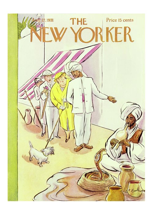 Illustration Greeting Card featuring the painting New Yorker August 22 1931 by Helene E Hokinson