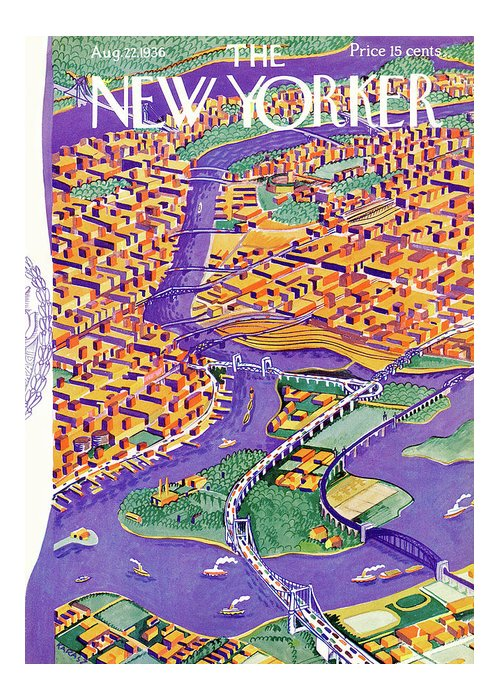 Bridge Greeting Card featuring the painting New Yorker August 22, 1936 by Ilonka Karasz