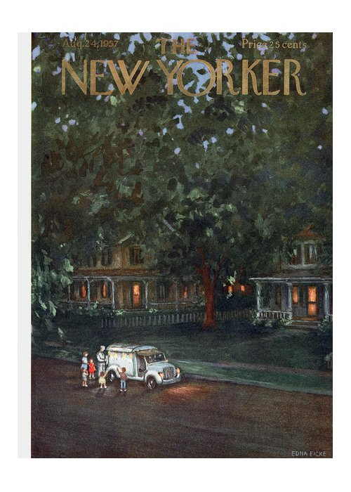 Edna Eicke Eed Greeting Card featuring the painting New Yorker August 24th, 1957 by Edna Eicke
