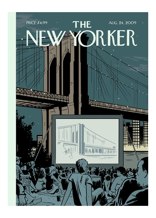 Brooklyn Bridge Greeting Card featuring the painting New Yorker August 24th, 2009 by Adrian Tomine