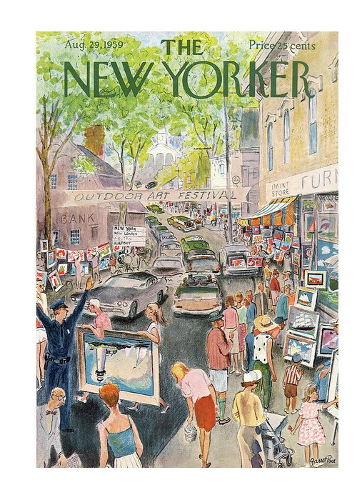 Garrett Price Gpi Greeting Card featuring the painting New Yorker August 29th, 1959 by Garrett Price
