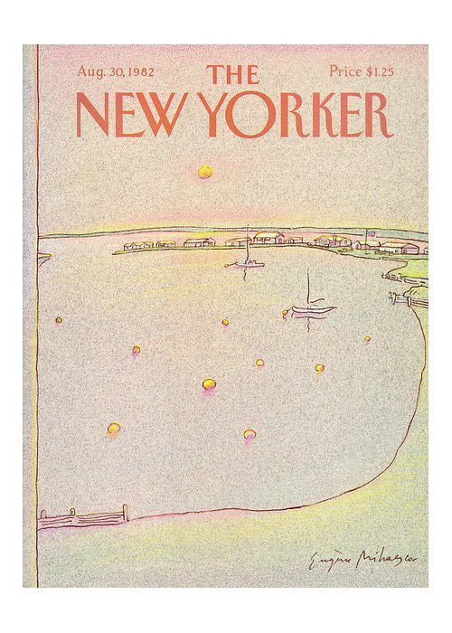Summer Greeting Card featuring the painting New Yorker August 30th, 1982 by Eugene Mihaesco