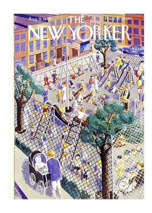 Children Greeting Card featuring the painting New Yorker August 31 1940 by Ilonka Karasz