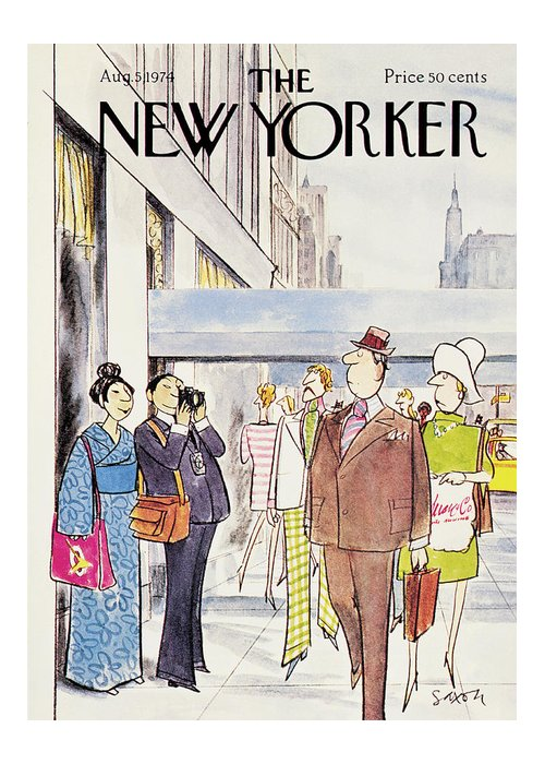 Leisure Greeting Card featuring the painting New Yorker August 5th, 1974 by Charles Saxon