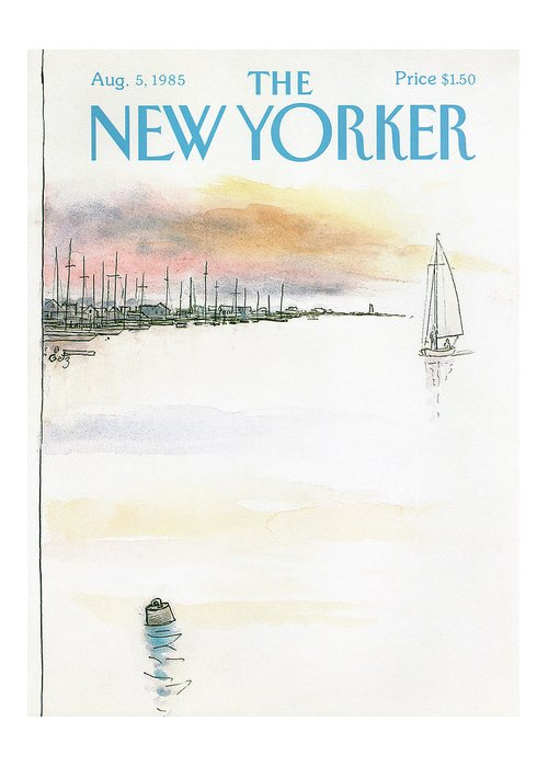 Nature Greeting Card featuring the painting New Yorker August 5th, 1985 by Arthur Getz