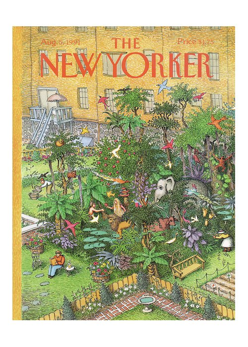 An Urban Garden Of Eden Greeting Card featuring the painting New Yorker August 5th, 1991 by John O'Brien