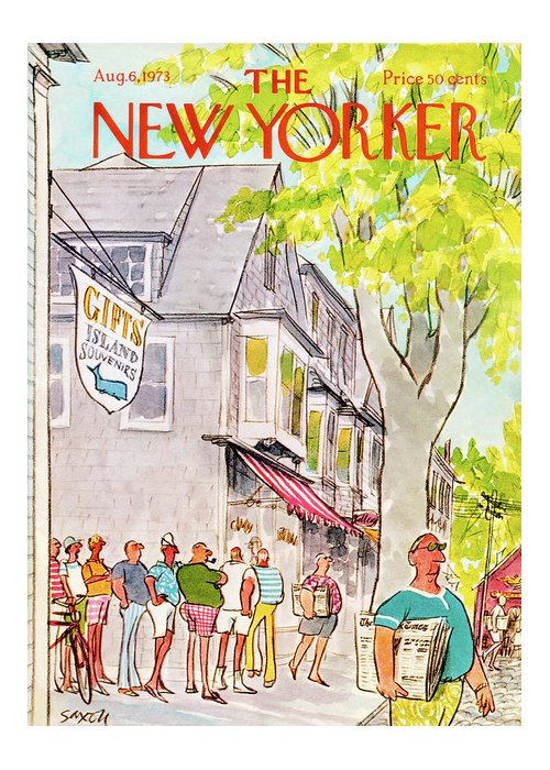 Vacation Greeting Card featuring the painting New Yorker August 6th, 1973 by Charles Saxon
