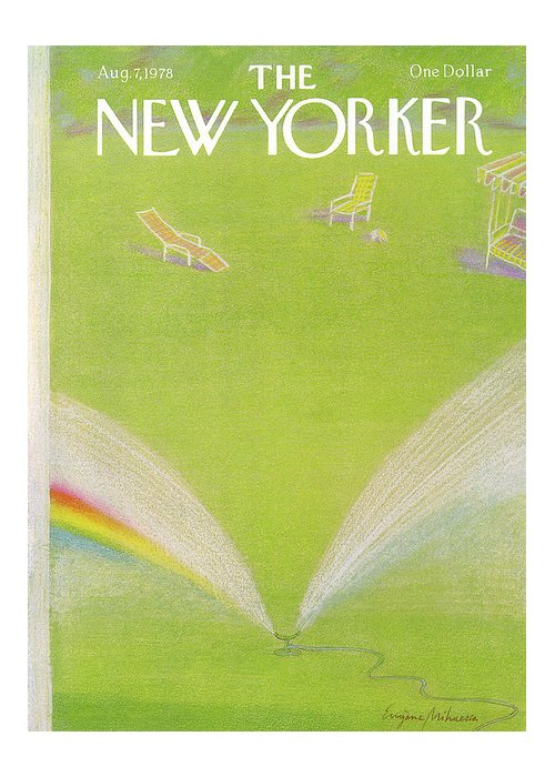 Eugene Mihaesco Emi Greeting Card featuring the painting New Yorker August 7th, 1978 by Eugene Mihaesco