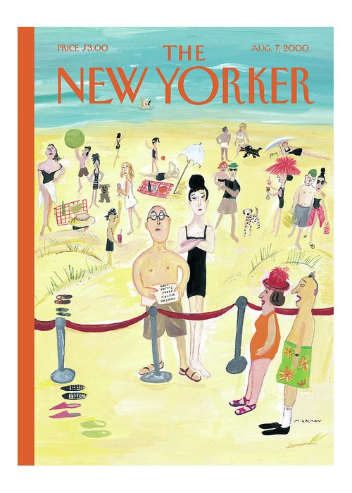 New yorker august 7th 2000 greeting card for sale by maira kalman beach greeting card featuring the painting new yorker august 7th 2000 by maira kalman m4hsunfo