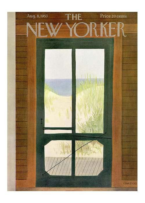 Sea Greeting Card featuring the painting New Yorker August 8th, 1953 by Edna Eicke