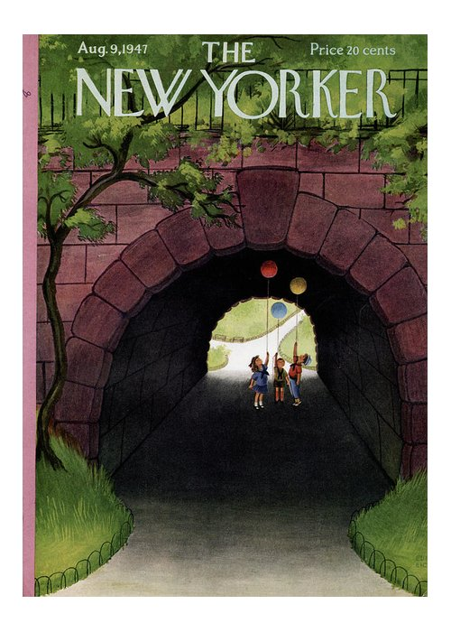 Childhood Greeting Card featuring the painting New Yorker August 9th, 1947 by Edna Eicke