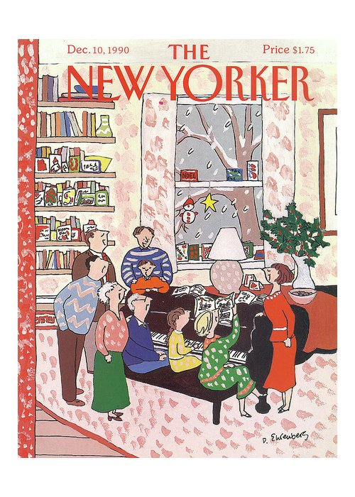 (a Family Gathers Around A Piano As They Sing Christmas Carols.) Entertainment Greeting Card featuring the painting New Yorker December 10th, 1990 by Devera Ehrenberg