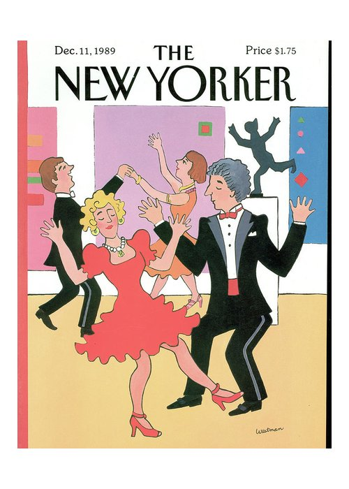 (well Dressed Couples Dancing.) Leisure Greeting Card featuring the painting New Yorker December 11th, 1989 by Barbara Westman