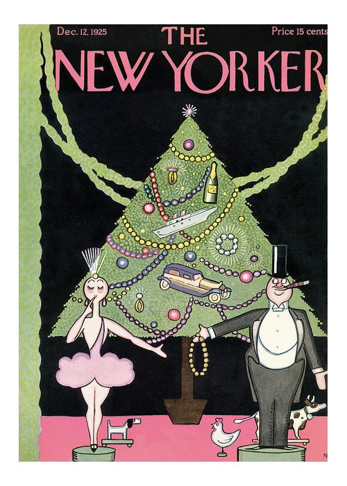 Christmas Greeting Card featuring the painting New Yorker December 12th, 1925 by Rea Irvin