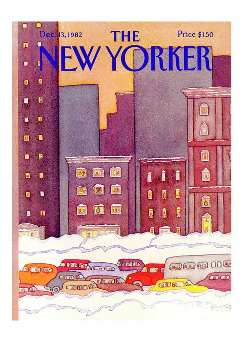 Urban Greeting Card featuring the painting New Yorker December 13th, 1982 by Lonni Sue Johnson
