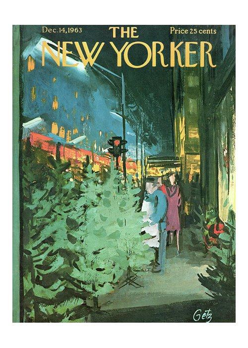 Christmas Greeting Card featuring the painting New Yorker December 14th, 1963 by Arthur Getz