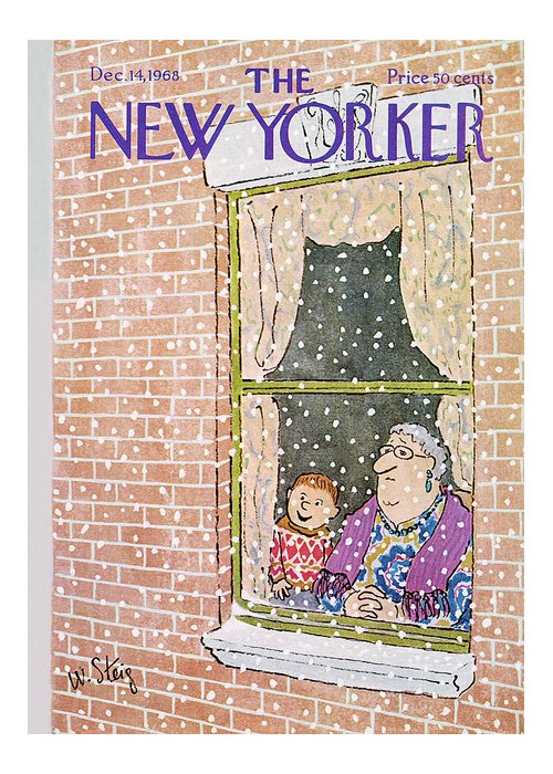 William Steig Wst Greeting Card featuring the painting New Yorker December 14th, 1968 by William Steig