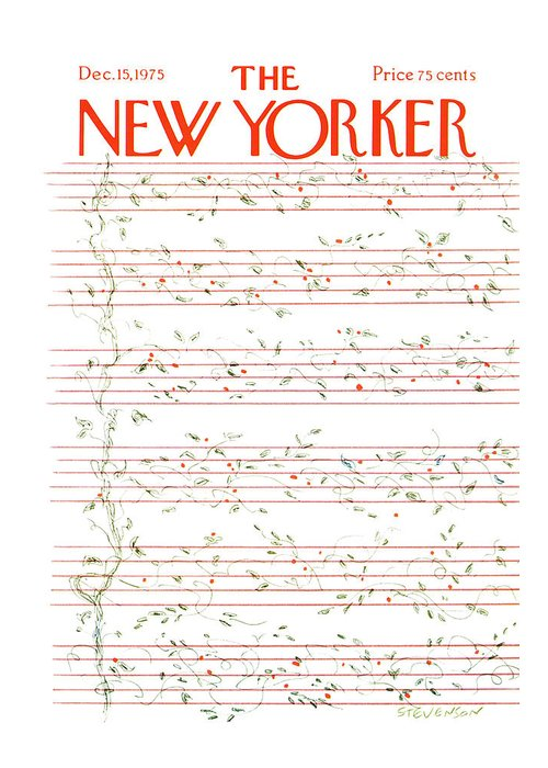 Christmas Greeting Card featuring the painting New Yorker December 15th, 1975 by James Stevenson
