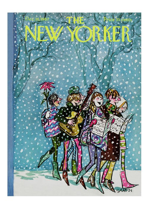 Hippy Greeting Card featuring the painting New Yorker December 16th, 1967 by Charles Saxon