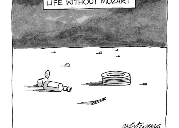 Classical Music Greeting Card featuring the drawing Life Without Mozart by Mick Stevens