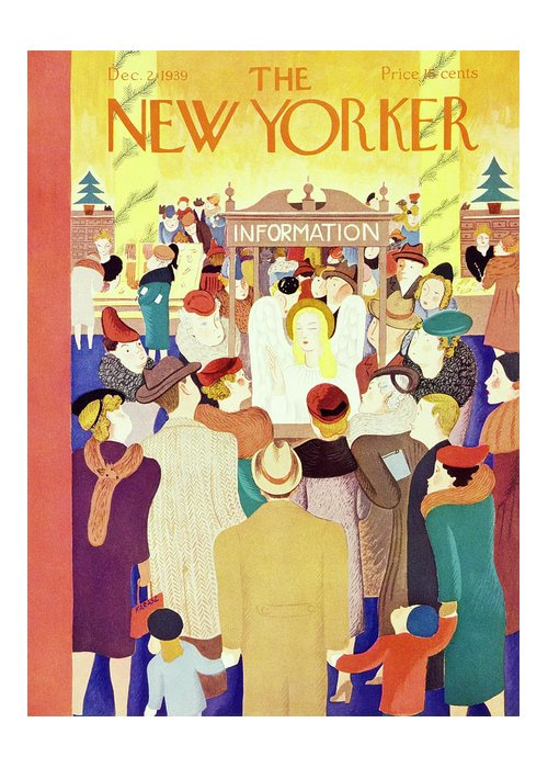 Holiday Greeting Card featuring the painting New Yorker December 2 1939 by Ilonka Karasz