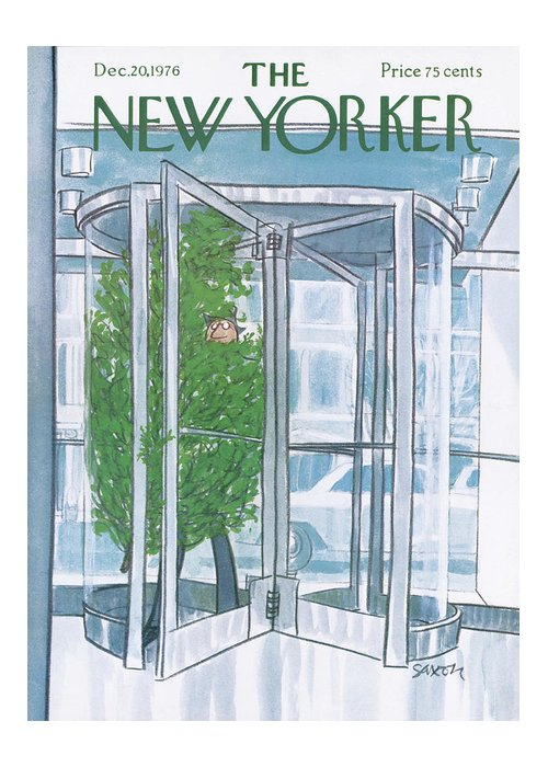 Revolving Door Greeting Card featuring the painting New Yorker December 20th, 1976 by Charles Saxon