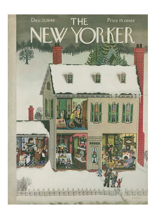 Christmas Greeting Card featuring the painting New Yorker December 21, 1946 by Edna Eicke